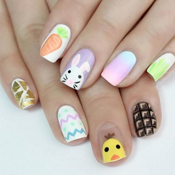 We love how @thenailtrail has incorporated loads of different parts of Easter to create these adorable designs - and the best part is she shared a tutorial so you can recreate them at home.