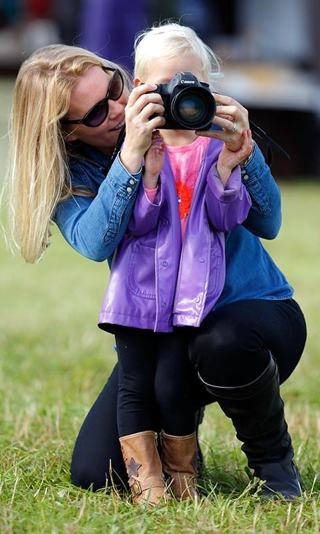 September 2015: Autumn Phillips gave daughter Isla a lesson during the second day of the Whatley Manor International Horse Trials at Gatcombe Park.