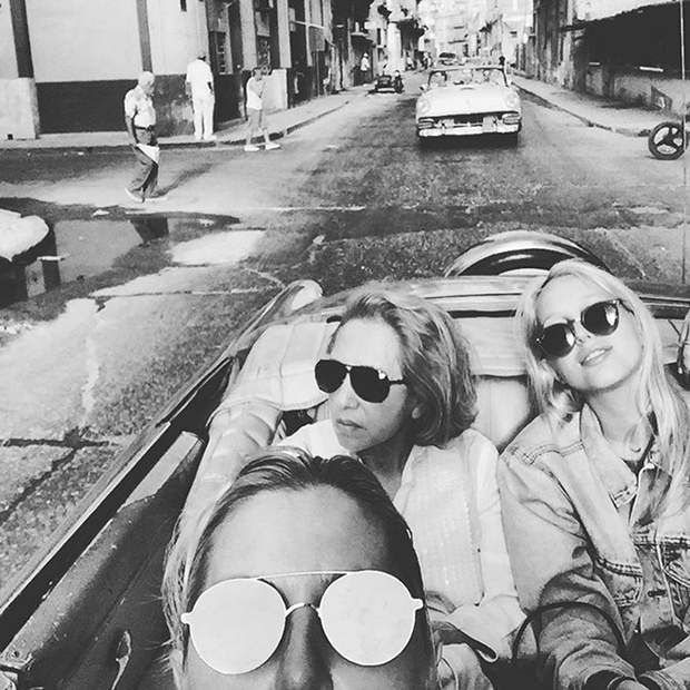 Princess Maria-Olympia takes a ride with her grandmother, Maria, and mom, Princess Marie-Chantal. 