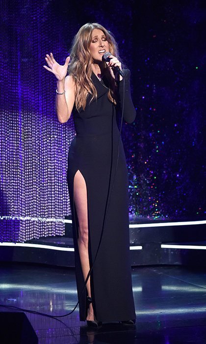 "Celine looked ravishing as she joined fellow celebrities such as Alicia Keys, Kevin Spacey, Carrie Underwood and Lady Gaga at <em>Sinatra 100: An All-Star Grammy concert</em> in Sin City on Dec. 3, 2015. The longtime Las Vegas resident belted out her duet with the late crooner, ""All the Way,"" as an emotional tribute to then-ailing husband, René Angélil. (Photo: © Getty)"