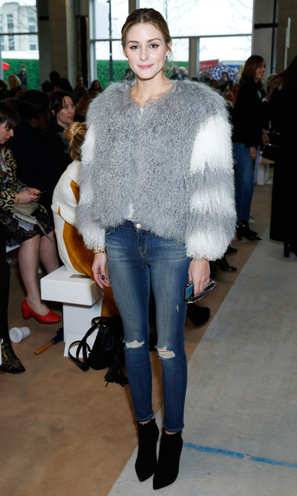 For days that feel more like late winter than early spring, choose a fur jacket in a light shade - think dove grey, cream or a pastel hue - as a fresh, practical outerwear option. Opt for a cropped cut and be sure to pair your fuzzy topper with slim bottoms (like Olivia's Black Orchid jeans) to balance proportions and keep the focus on your coat. 