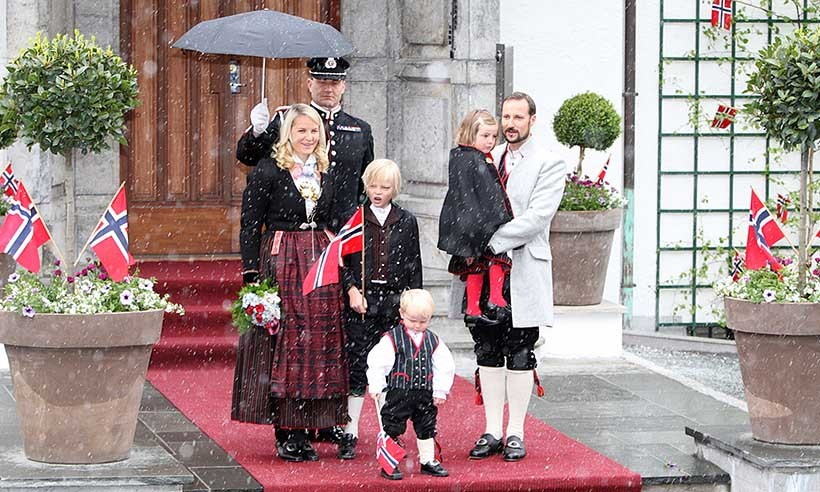 Norway's Royal Family (From left: Princess Mette-Marit, Marius, Prince Sverre Magnus, Princess Ingrid and Prince Haakon) braved the rain during National Day celebrations in 2008. 