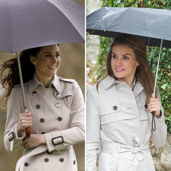 Style stars the Duchess of Cambridge and Queen Letizia of Spain have both mastered the art of rainy day chic.  