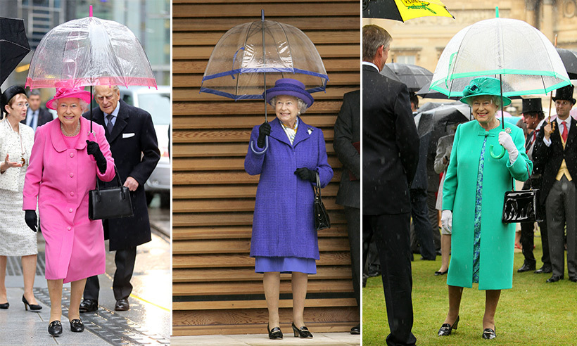 No one handles an umbrella better than the Queen. The style maven loves to match her brolly to her hat and dress coat combo and always opts for a clear finish so she is visible at all times. 