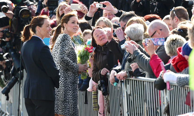 Two months before she welcomed daughter Princess Charlotte in May 2015, the Duchess of Cambridge mingled with crowds outside of the Turner Contemporary gallery in the English seaside town of Margate. 