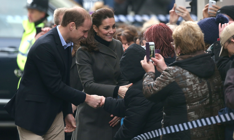 Accompanied by her husband, Prince William, Kate greeted well-wishers gathered outside of Dundee's Rep Theatre in Scotland. 