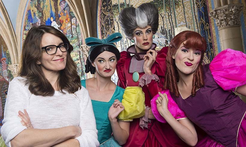 "Tina Fey caught up with the original ""Mean Girls"" - Cinderella's wicked stepmother and stepsisters - at Disney's Magic Kingdom in Florida. 