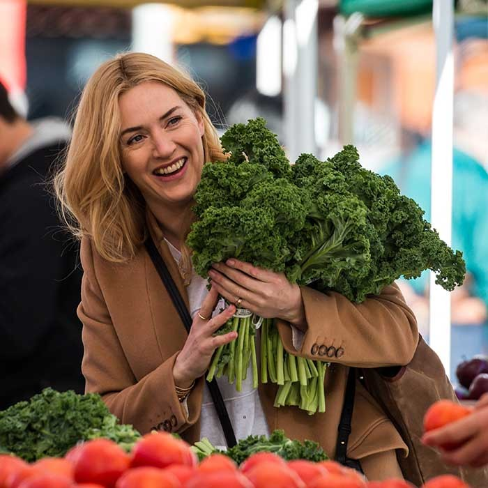 Kate Winslet was all smiles on the set of her new drama <i>Collateral Beauty</i>. The film, which tells the story of a man dealing with depression, co-stars Will Smith, Keira Knightley and Helen Mirren. 