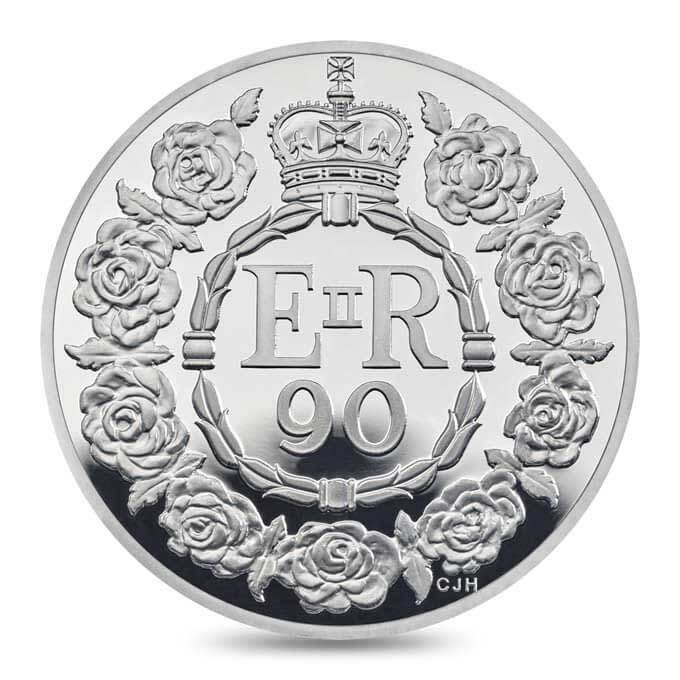 The coin features nine roses to symbolise each of the Queen's decades.