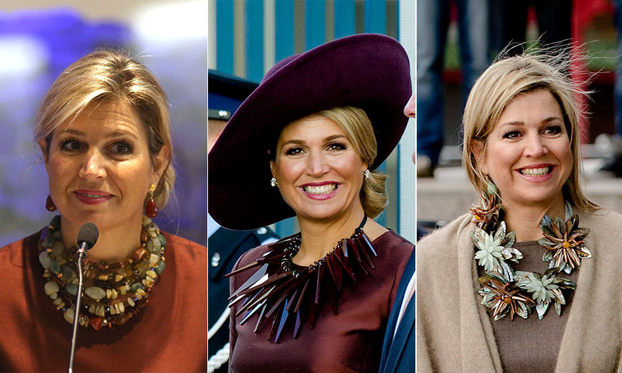 Queen M&aacute;xima of the Netherlands doesn't shy away from making a statement, especially where her collection of show-stopping necklaces is concerned. Even the simplest of outfits can become unforgettable ensembles with one of these chunky toppers. 