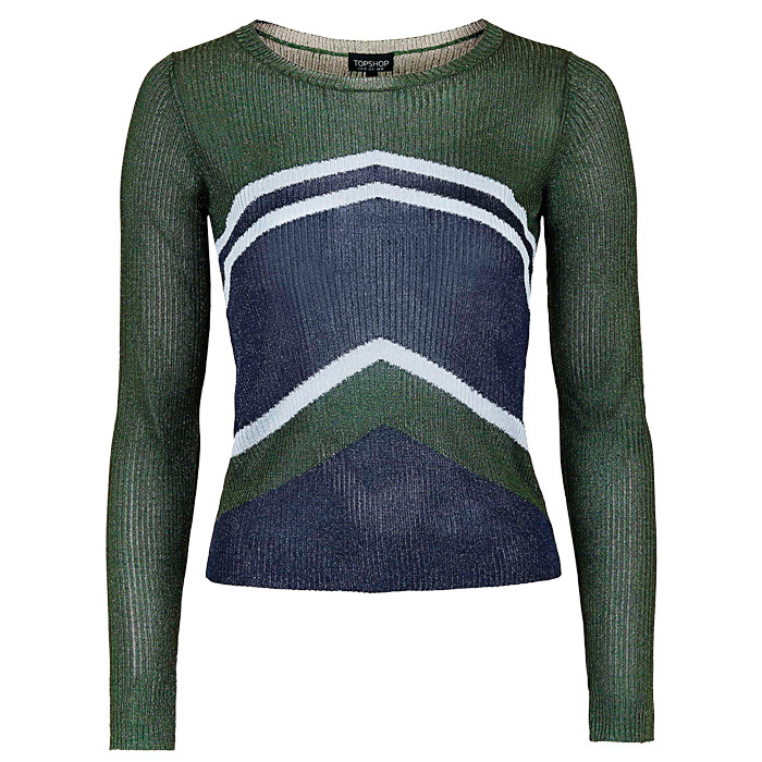 <strong>Chevron Ribbed Jumper</strong>, $45,