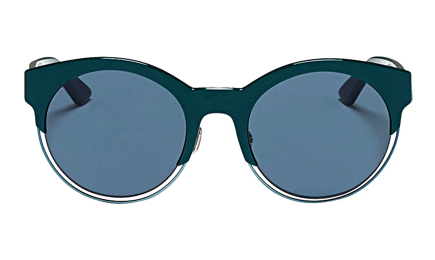 <strong>Dior Sideral 1 Metallic Rim Acetate Cat Eye Sunglasses in Teal</strong>, $580, 