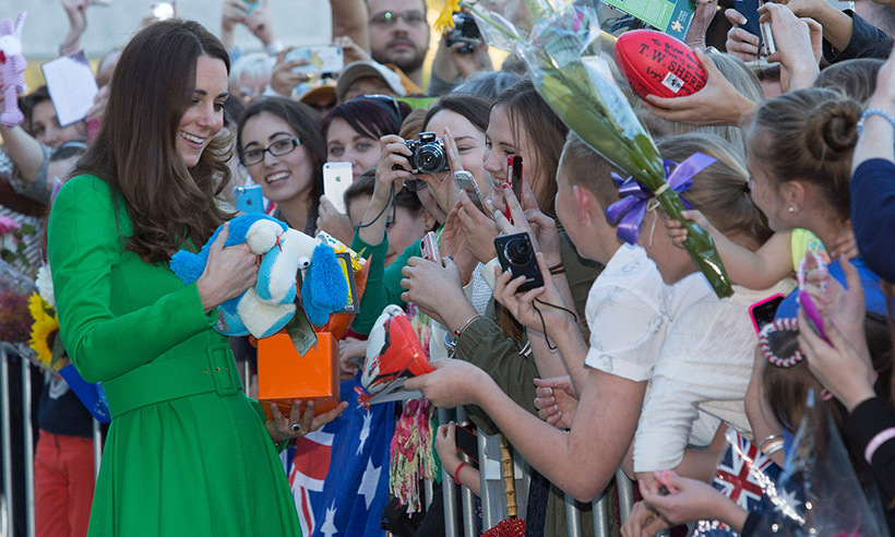 Kate was showered with gifts during a walkabout at the National Portrait Gallery in Canberra, Australia, in 2014.