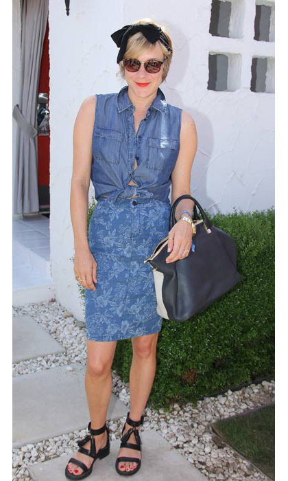 Chloe Sevigny channelled the pin-up girl look in a denim dress in 2013.