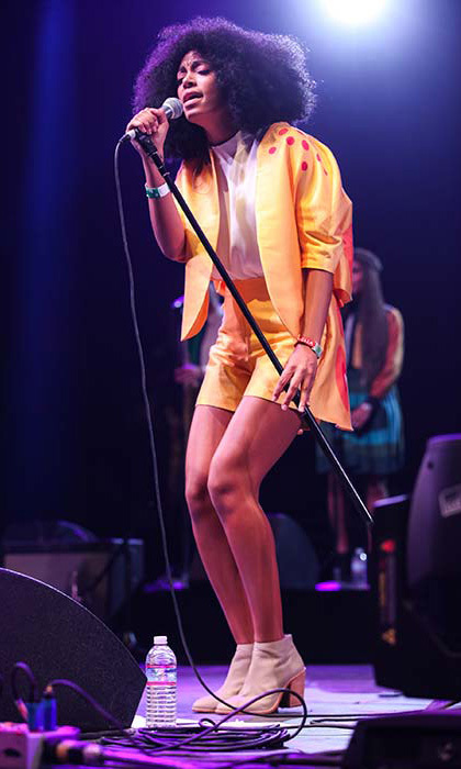 Solange Knowles rocked a colourful tailored ensemble for her performance in 2014.
