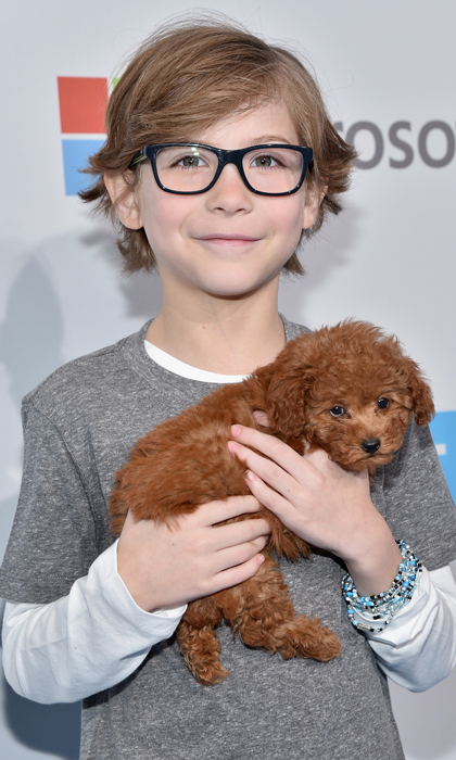 <i>Room</i> star Jacob Tremblay and his new puppy. 
