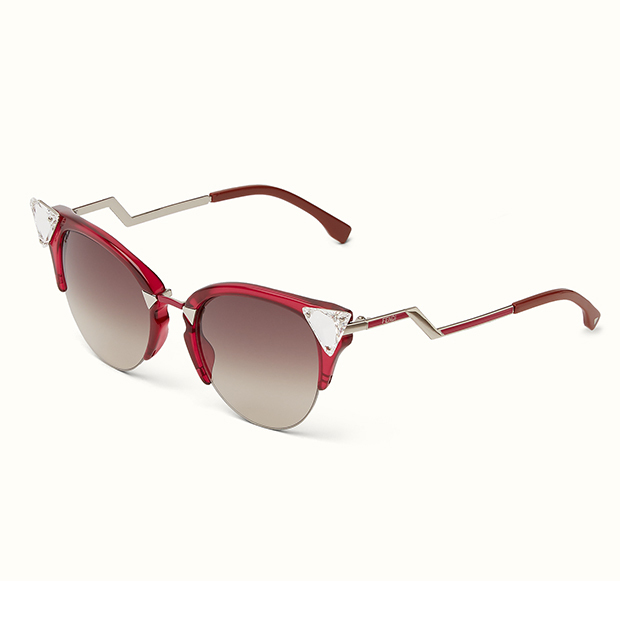 "Iridia Cat-Eye Sunglasses in Red/Brown, $565, <a href=""http://www.holtrenfrew.com/store/holt/ProductDetail/Iridia-Cat-Eye-Sunglasses/_/A-sku-sku220011.prod260010.en__US.HOLT?pdp=true#selSkuID%3DRed%2FBrown%26size%3D"">holtrenfrew.com</a>"