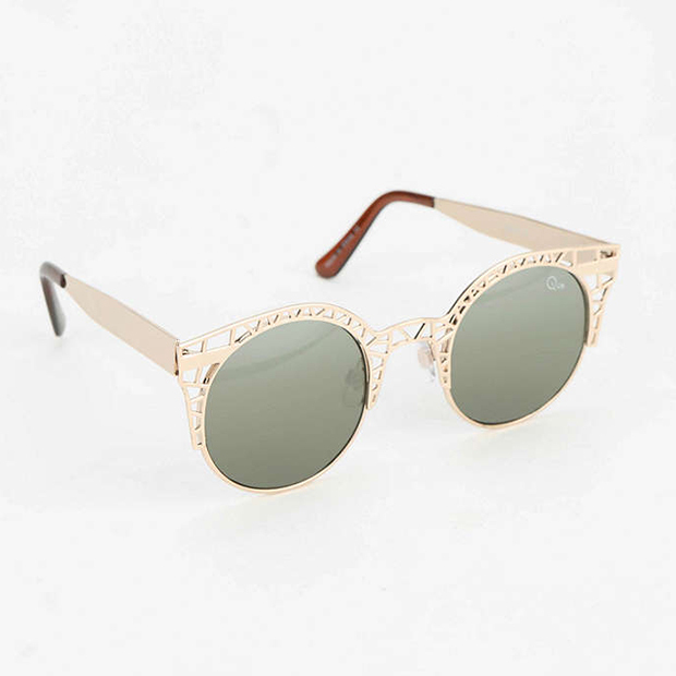 Quay Fleur Round Cat-Eye Sunglasses in Gold, $50,