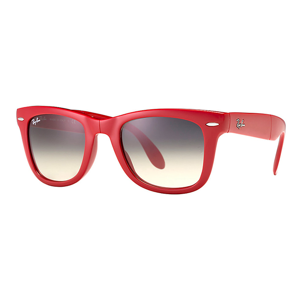 "Wayfarer Folding Classic in red, $210, <a href=""http://www.ray-ban.com/canada/en/sunglasses/RB4105%20MALE%20013-wayfarer%20folding%20classic-red/713132410264?category_Id=44431"">ray-ban.com</a>"