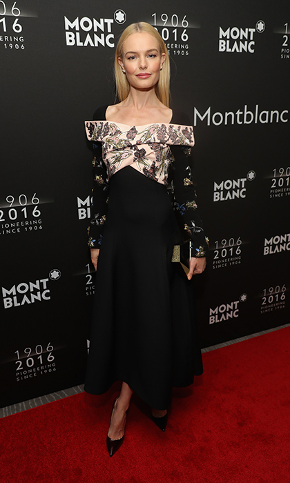 Kate Bosworth is a pretty package in this dramatic yet feminine look, an embroidered Christian Dior Fall 2016 dress with off-the-shoulder detailing, while attending the Montblanc 110 Year Anniversary Gala Dinner in New York.