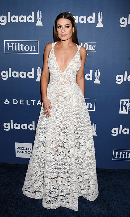 Lea Michele showcased a sweeping and delicate look in a white lace Elie Saab Spring 2016 confection at the GLAAD Media Awards in Los Angeles. 