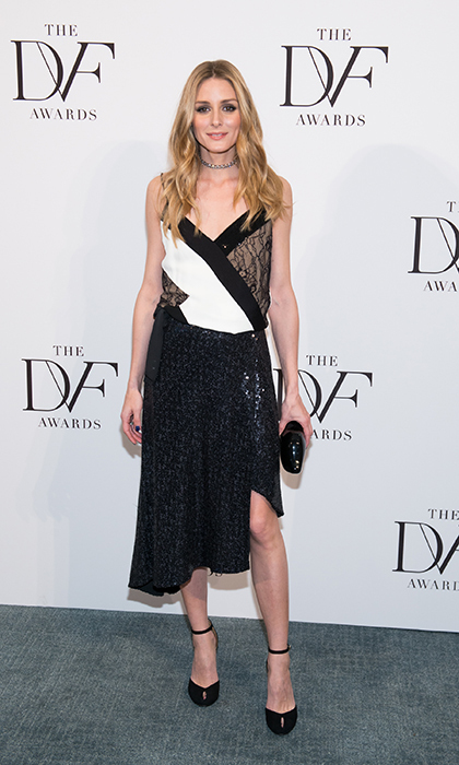 Olivia Palermo is fierce and feminine in a sequin-embellished, asymmetrical Diane von Furstenberg at the DVF Awards.
