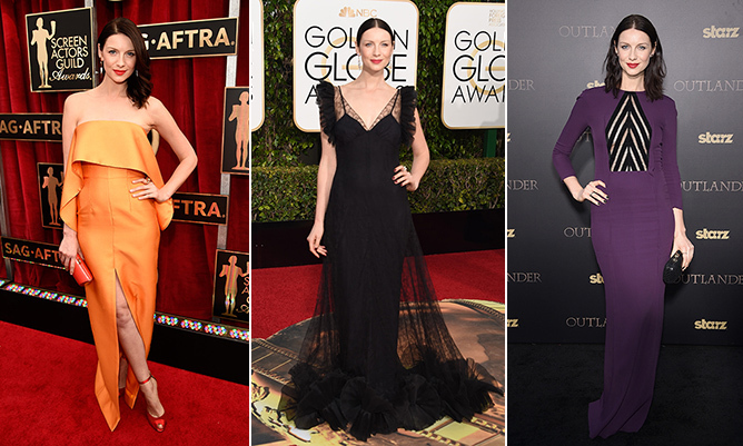 As a former model, Caitriona Balfe knows how to work a red carpet. Since landing the part of Claire Fraser in the time-travel period drama <i>Outlander</i>, the Irish beauty has treated fans and fashion lovers to a parade of eye-catching gowns, chic and sophisticated suits and bold and beautiful separates.    