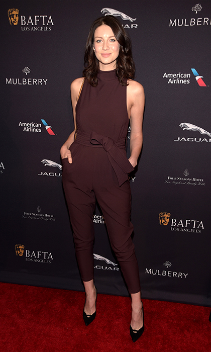 Sleek is the word! Caitriona wears a Cameo jumpsuit with Stuart Weitzman shoes at the 2015 BAFTA Los Angeles Tea Party at the Four Seasons Hotel in Beverly Hills, Calif.