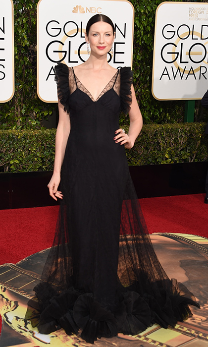 For her walk down the 2016 Golden Globes red carpet, the first-time nominee chose a black lace Alexander McQueen gown and Fred Leighton jewels. 