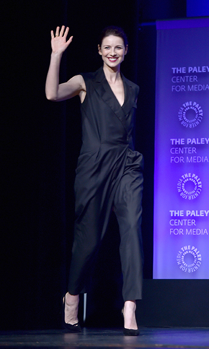 A monochromatic ensemble never goes out of style. Caitriona proved why in this Bottega Veneta jumpsuit, Stuart Weitzman shoes and Vita Fede jewelry at the Dolby Theatre in Los Angeles for PaleyFest in 2015.