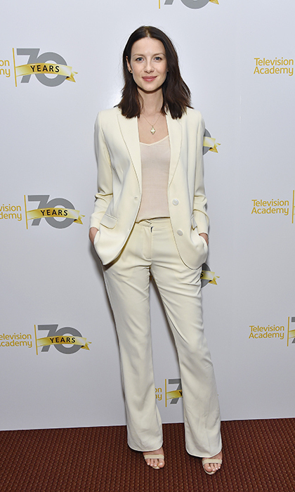The Dublin native was a vision in head-toe white at a special screening of the second season of <i>Outlander</i> at the NYU Skirball Center in New York City.