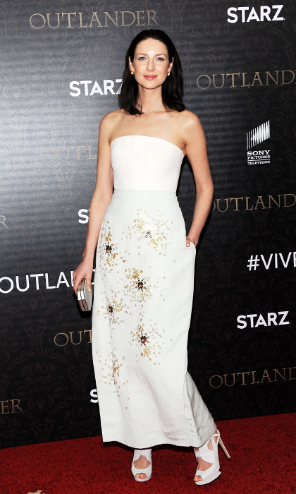 To premiere the second season of <i>Outlander</i> in New York, Caitriona earned top style marks in a two-toned strapless Delpozo gown. The hemp dress (yes hemp!) is beautifully encrusted with pale blue and purple sequins. 