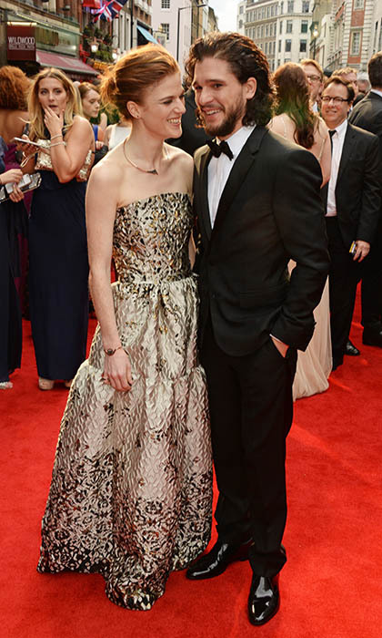 Longtime loves and <i>Game of Thrones</i> stars Rose Leslie and Kit Harington walked their first red carpet together as a couple at The Olivier Awards in London. 