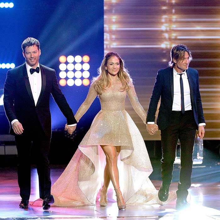 And that's a wrap! Harry Connick Jr., Jennifer Lopez and Keith Urban made their final entrance as judges on the series finale of <i>American Idol</i>. 