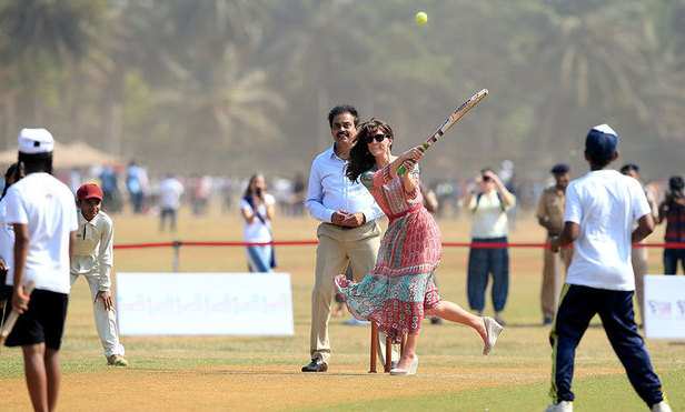 She may have been wearing wedge heels, but that didn't stop Kate from smacking a cricket ball at an engagement in Mumbai on the first day (Apr. 10) of her tour with Prince William. Despite her great show of athleticism hitting a ball bowled by legendary cricketer Sachin Tendulkar, the duchess was caught out on the next ball.