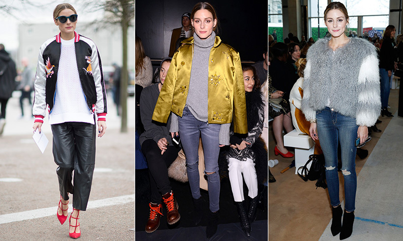 See how streetwear star and fashion entrepreneur Olivia Palermo masters between-season style, from pairing her leather pants with a chic bomber jacket to getting fluffy with chunky knits and furs. Click through for how to get the looks!