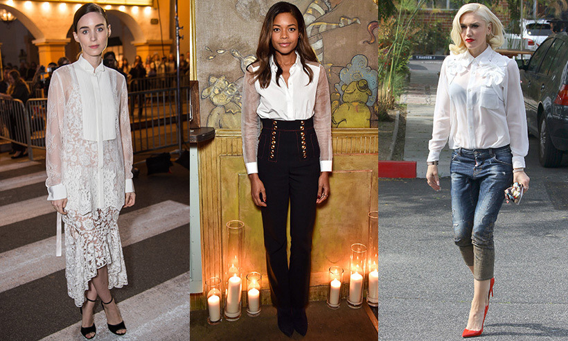 The crisp white blouse is definitely one of fashion's hardest-working staples, calling to mind classic beauties like preppy A-lister Julia Roberts and Emma Watson when she stepped out to meet Prince William at Windsor Castle (she paired her shirt with a grey evening skirt). 
