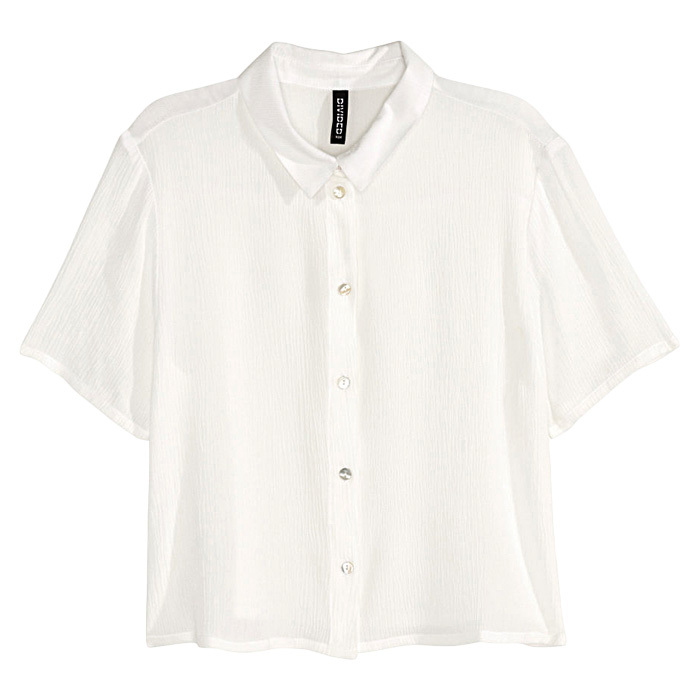 <strong>Short blouse in white</strong>, $20, 