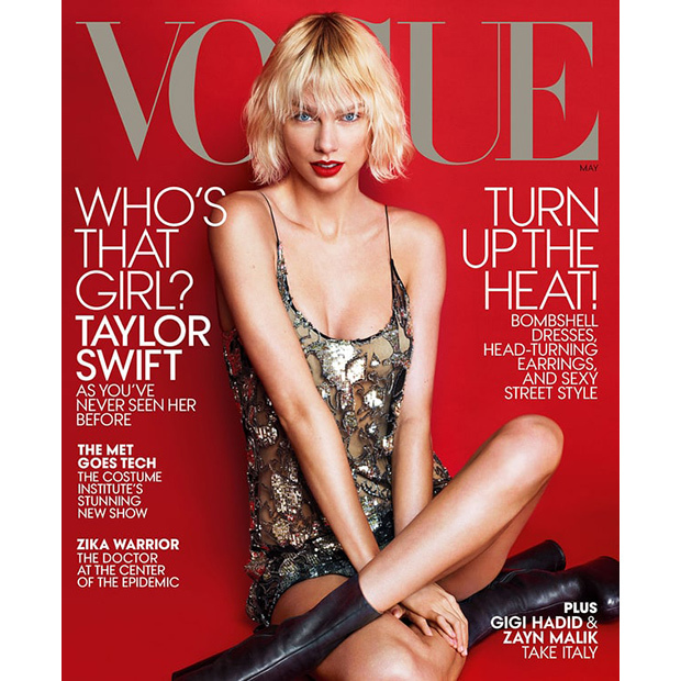 Taylor Swift's platinum makeover, complete with bleached eyebrows, on the cover of Vogue's May issue caught everyone by surprise. 