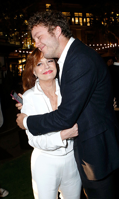 Susan Sarandon received some loving support from her son Jack Robbins at the after party for the premiere of her film <i>The Meddler</i> in Los Angeles. 
