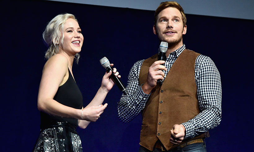 Jennifer Lawrence and Chris Pratt traded barbs onstage at CinemaCon in Las Vegas. The gorgeous duo star in the upcoming intergalactic flick <i>Passengers</i>. 