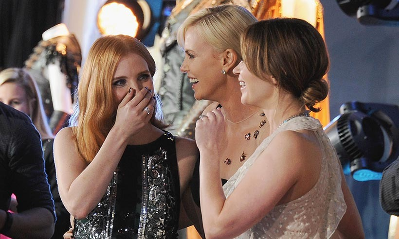 The ladies of <i>The Huntsman: Winter's War</i> (From left: Jessica Chastain, Charlize Theron and Emily Blunt) shared a giggle at the film's premiere in Hollywood. 