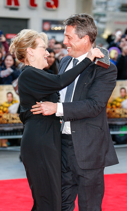 <i>Florence Foster Jenkins</i> co-stars Meryl Streep and Hugh Grant were happy to be reunited at their film's premiere in London. 