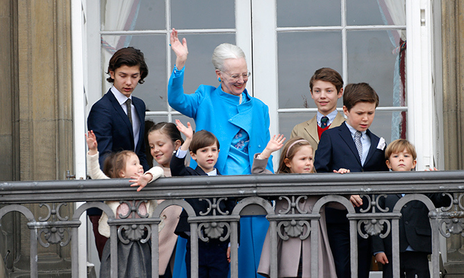 In celebration of their grandmother Queen Margrethe's 76th birthday in April 2016, the adorable youngsters joined their cousins on the palace balcony to wave at well-wishers. 