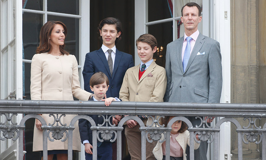 Prince Joachim and Princess Marie with their children Princess Athena and Prince Henrik and Joachim's children from his marriage to Alexandra, Countess of Frederiksborg, Prince Nikolai and Prince Felix.