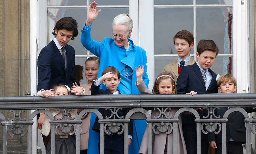 Queen Margrethe pictured with all her grandchildren, Princess Josephine, Princess Isabella, Prince Vincent, Prince Christian, Prince Nikolai, Prince Felix, Princess Athena and Prince Henrik.