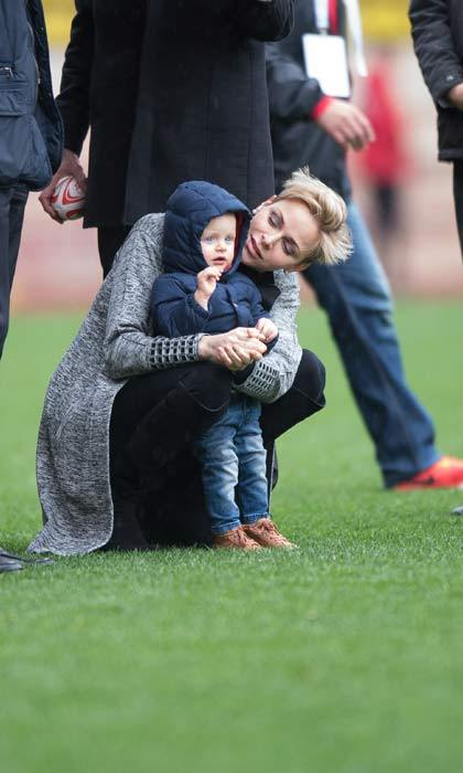 Charlene was recently spotted taking her son Jacques to a rugby tournament.