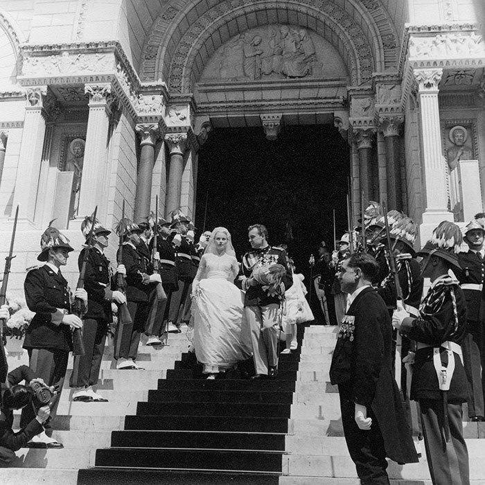 <p>The couple left the cathedral arm-in-arm, flanked by military guards. The American beauty was thereafter known as Princess Grace of Monaco.</p>