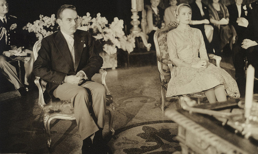 <p>The first ceremony took place on April 18 1956. Grace and Rainier were legally wed in the baroque throne room in the Palace of Monaco, in a civil ceremony attended by their close friends and family.</p>
