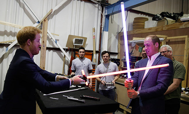 """Why do I always have to be the baddy?"" joked Prince Harry when his lightsaber turned red.